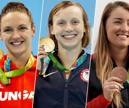 Katinka Hosszú, Katie Ledecky, and Corey Cogdell-Unrein. Photo: Getty Images